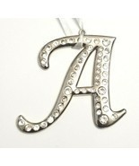 Silver Tone Rhinestone Monogram Ornament - Capital Letter A Christmas Ornament - £6.98 GBP
