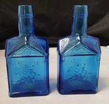 """Paul Revere Blue Bottle: Set of 2 Bottles, Wheaton, NJ, 8"""" Tall, Cabin S... - $14.50"""