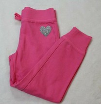 Childrens Place Girls Pants Sz 5 6 Pink Sweatpants Glittery Heart Casual... - $17.81