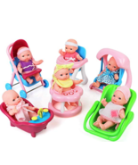 """Click N' Play Set of 6 Mini 5"""" Baby Girl Dolls with Accessories, Strolle... - $34.64"""