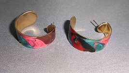VTG Gold Tone Metallic Multicolored Enameled Earrings - $7.92