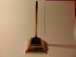Heavy Brass Desk Top Pen Holder, with Cross 1/20th 10K Gold Desk Pen. - $17.99