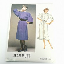 Vogue 1499 Pattern Jean Muir Designer Dress Size 8 Bell Sleeve 1985 Uncu... - $21.99