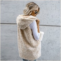 Soft Fleece Sherpa Sleeveless Hoodie Vest Front Zip Up In Four Colors image 3