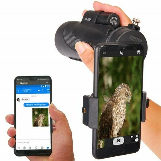 12X50 High Power Prism Monocular Scope, Smartphone Holder, & Handheld Tripod Kit image 3