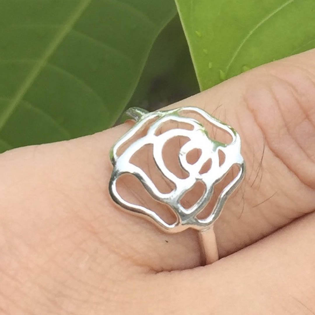 Primary image for Handmade 925 Sterling Silver Flower Floral Rose Ring - Gift for her, wife or wom