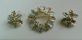 Vintage Signed Sarah Coventry Silver Tone & gold tone Leaves Brooch & Earrings - $31.99