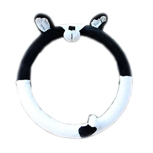 PANDA SUPERSTORE Winter Short Plush Car Steering Wheel Cover Cute Animal Pattern