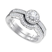 10k White Gold Round Diamond Bridal Wedding Engagement Ring Band Set 1/2 Ctw - $699.00