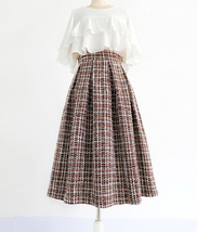 A-line Winter Tweed Skirt Outfit High Waisted Plus Size Burgundy image 1
