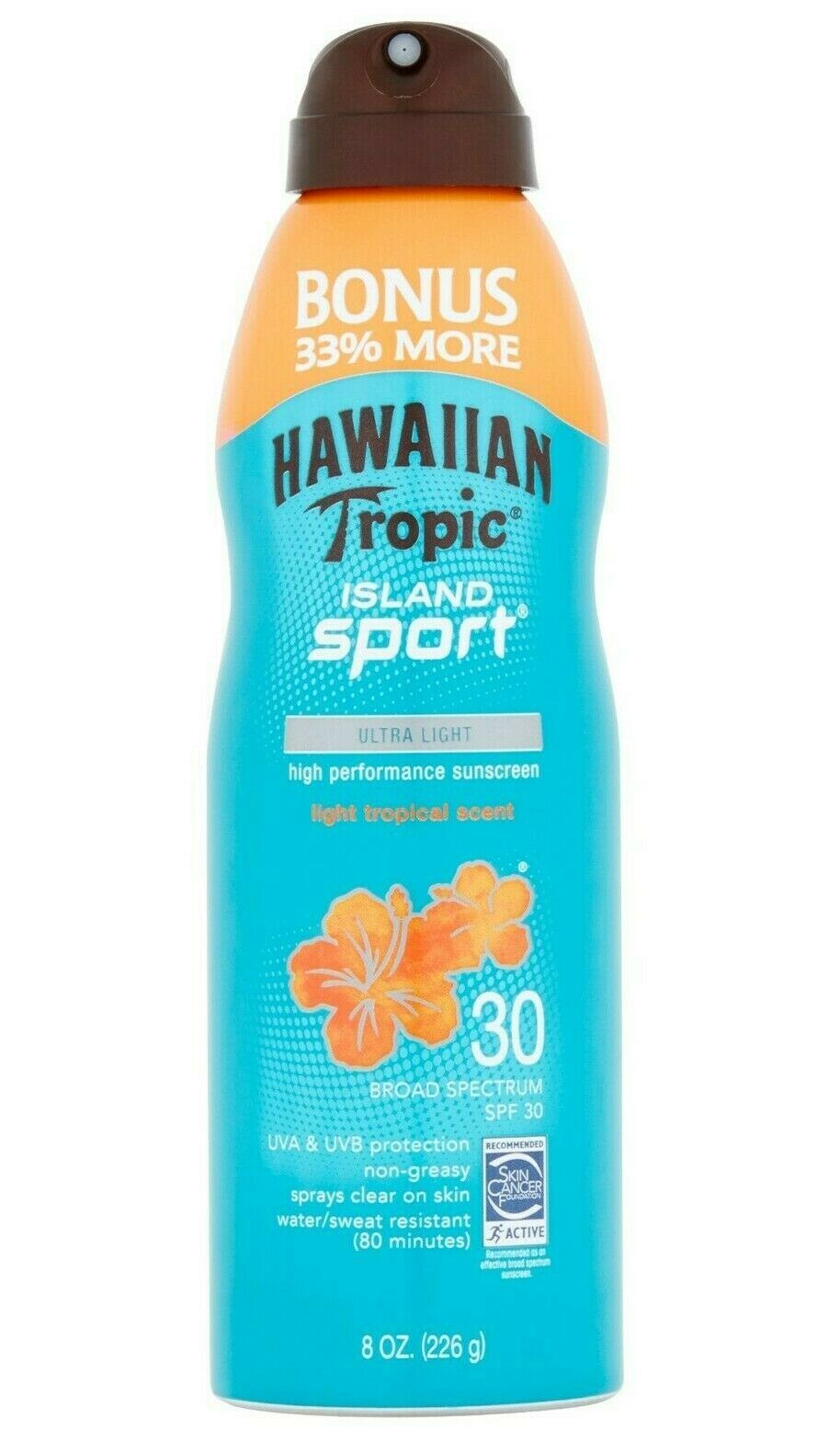 Hawaiian Tropic Island Sport High Performance tropic Sun Screen Spray SPF 30 8Oz