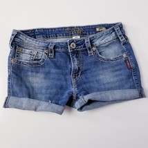 Womens Silver Jeans Aiko Boot Cut  Bermuda Shorts Distressed Stretch Sz ... - $7.86