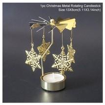 Metal Candlestick Merry Christmas Table Decor For Home Rotating Elk Ange... - $12.99