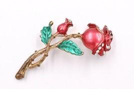 Vintage Rose Bud Flower Figural Rhinestone Enameled Brooch Pin - $19.79