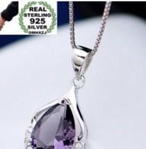 EUROPE FASHION 925 sterling silver Amethyst Teardrop Pendant Necklace [P... - $18.81