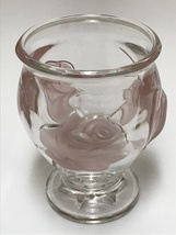 Teleflora Clear Glass Vase with Pink Frosted Embossed Roses - $23.99