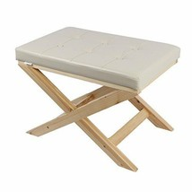 Zoned For You Upholstered X Bench Ottoman in Black and Cream Color (cream) - $49.98