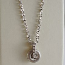 18K WHITE GOLD NANIS NECKLACE WITH DIAMOND 0.06 CT, ROLO CHAIN MADE IN ITALY  image 1