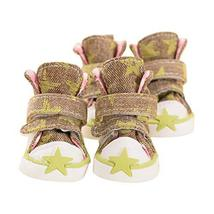 PANDA SUPERSTORE Well Design Army Green Star Pattern Jean Pets Shoes Dog... - $17.74