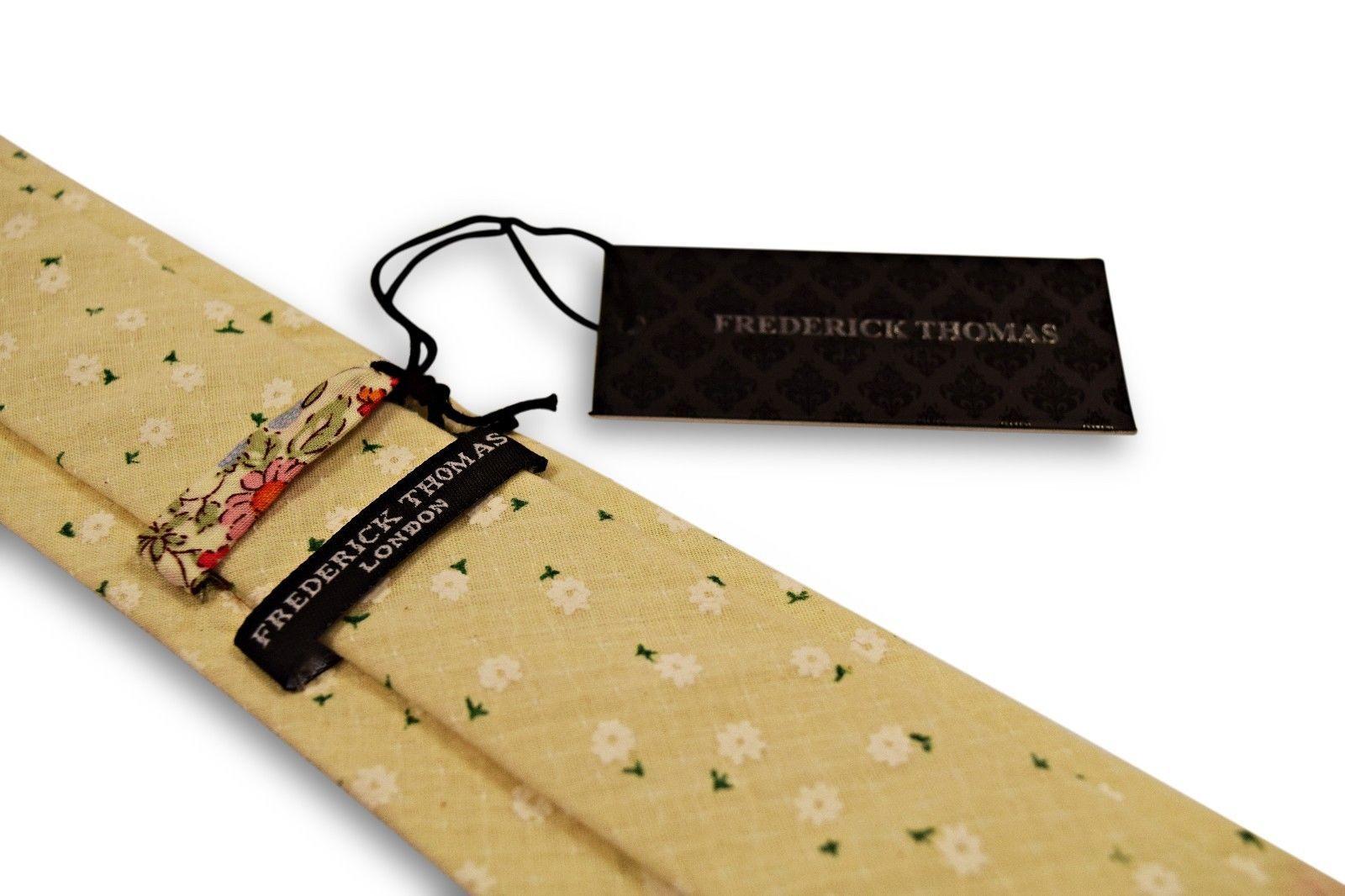 Frederick Thomas AVORIO CREMA motivo stampato a fiori COTONE CRAVATTA ft3322