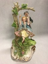Girl in swing boy pushing Capodimonte Figurine marked A44/523 Vintage po... - $148.49