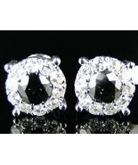 14K White Gold Finish Black/White Sim Diamond Stud Earrings 7.5 Mm 1.25 Ct - $69.99