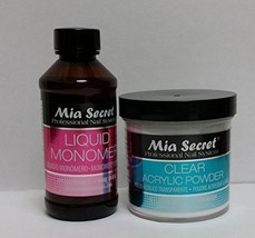 MIA SECRET PROFESSIONAL LIQUID MONOMER 4 oz + CLEAR ACRYLIC POWDER 4 oz ... - $24.63