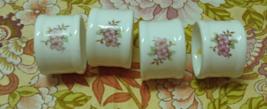 Vintage Porcelain Napkin Rings Pink & White Tableware Shabby Chic Cottage - $9.00