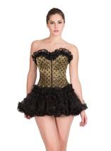 Olive Green Satin Polka Dots Top Tutu Skirt Overbust PLUS SIZE Corset Pr... - $93.57