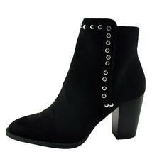 Qupid Tiber 18 Black Suede Women's Almond Toe Studded Bootie  - $32.95