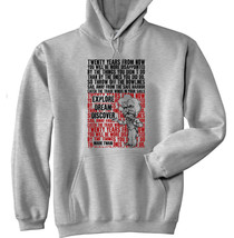 Mark Twain Explore Quote - New Cotton Grey Hoodie - $40.12