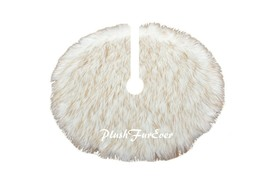 5' Round Light Brown Tip Tree Skirt Christmas Holiday Faux Fur Decor - $104.50