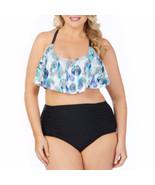 JCP Boutique Flounce W Macrame Back Swimsuit Top Plus Size 3X NEW Blue S... - $36.62