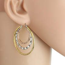 Multi Textured Tri-Color Silver, Gold & Rose Tone Hoop Earrings- United Elegance - $16.99
