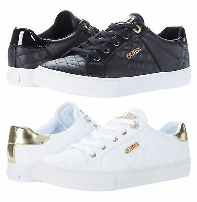 Women's GUESS Loven Quilted Lace-Up Casual Low Top Sneakers