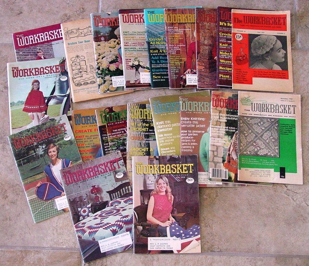 20 Vintage THE WORKBASKET Patterns Crochet-Knitting-Tatting-Crafts-Recipe-Garden - $25.00