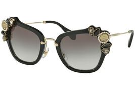 New Miu Miu Cat Eye Sunglasses Smu 03S 1AB0A7 Runway Jewel Gold Black/ Grey - $232.52