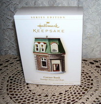 HALLMARK ORNAMENT CORNER BANK NOSTALGIC HOUSES AND SHOP - $16.82