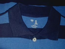 GAP MENS SS BLUE STRIPED 100% COTTON SLIM FIT POLO SHIRT-M-NWD-NECK NAME BLOCKED image 3