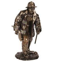 "8.25"" Fireman Fighting Fire Statue Fire Fighter Figure Figurine Hero - $39.00"
