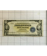 1922 Philippines 5 Pesos Victory Series 66 Bank Note - $35.00
