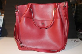 ZARA Metal Handle Tote Bag/Handbag w/Detachable Strap Cranberry w/Gold Trim - $35.00