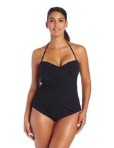 NWT GOTTEX swimsuit 8 sexy draped bandeau contour extra tummy control sl... - $71.30
