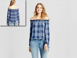 Women's Mossimo Supply Co Off The Shoulder Plaid Top Blouse Navy/ Blue S... - $6.92