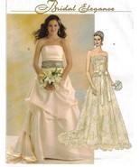 Misses Bridal Wedding Gown Strapless Drape Skirt Lace Sash Sew Pattern 1... - $12.99
