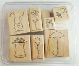 Stampin' Up ~ The Fine Print ~ 8 Wood Mounted Stamps ~ 2002 ~ NEW - $9.65