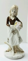 Vintage Hand Painted Woman Porcelain Figurine holding basket in Style of... - $14.95