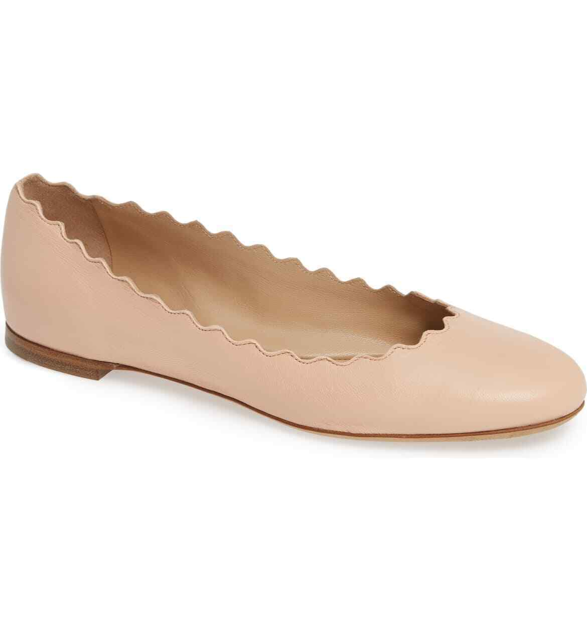 Primary image for CHLOE Lauren' Scalloped Ballet Flat Size 40.5