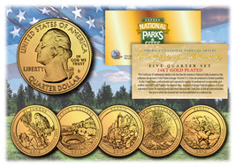2012 America The Beautiful 24K GOLD PLATED Quarters Parks 5-Coin Set w/C... - $12.16