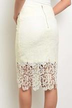 Crochet Lace Pencil Skirt, Lace Midi Skirt, Cream Lace Skirt, Soie Blu, Womens image 2